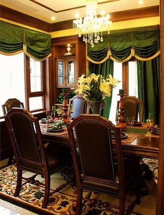 美式风格别墅装修餐厅窗帘图片