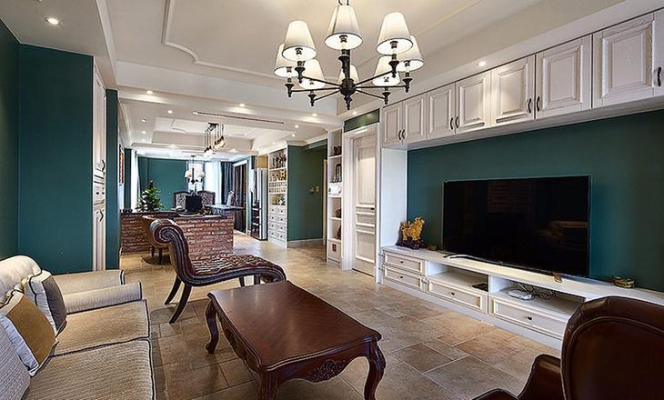 美式风格三室两厅装修客厅电视柜图片