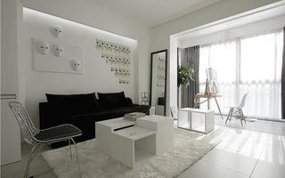 黑白调演绎新时尚 简约风格两室两厅效果图1/9