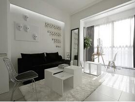 黑白调演绎新时尚 简约风格两室两厅效果图