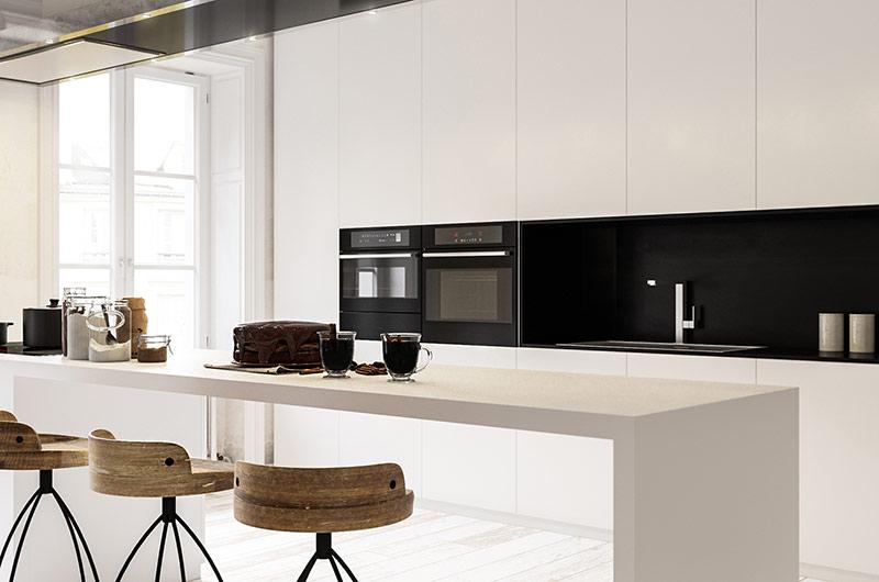 黑白简约风厨房吧台设计