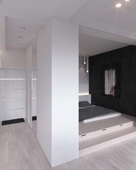 45平单身公寓卧室地台装修