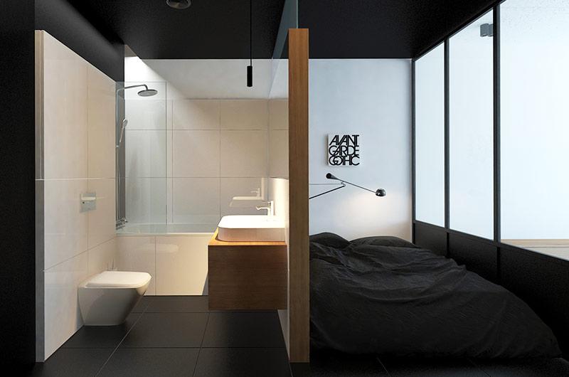 摩登简约风卧室 洗手间隔断效果图