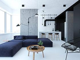 62平简约单身公寓装修 质感的极简空间