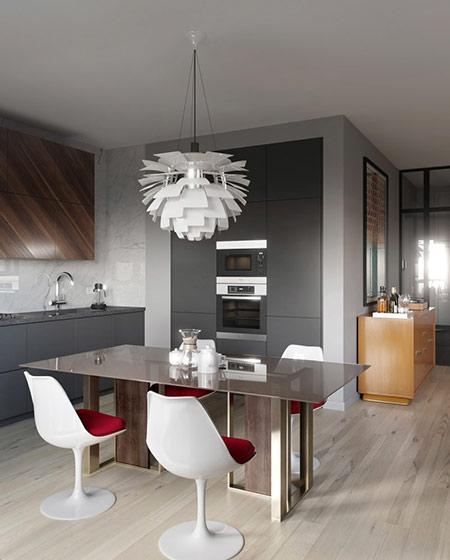 混搭风格二居室厨房餐厅一体装修