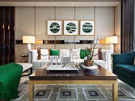 祖母绿点缀空间很贵气  新古典风格别墅装修你一定喜欢
