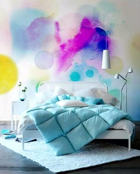 卧室手绘背景墙装潢图