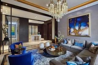 新古典风情别墅 错层客厅效果图