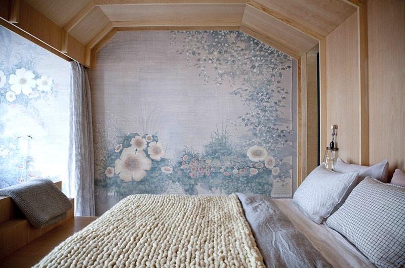 62平单身公寓卧室壁纸设计图