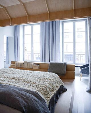 62平单身公寓卧室窗帘图片