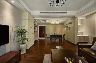 美式风格三居室装修客厅地板装修
