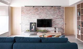 北欧风客厅 文化砖电视背景墙效果图