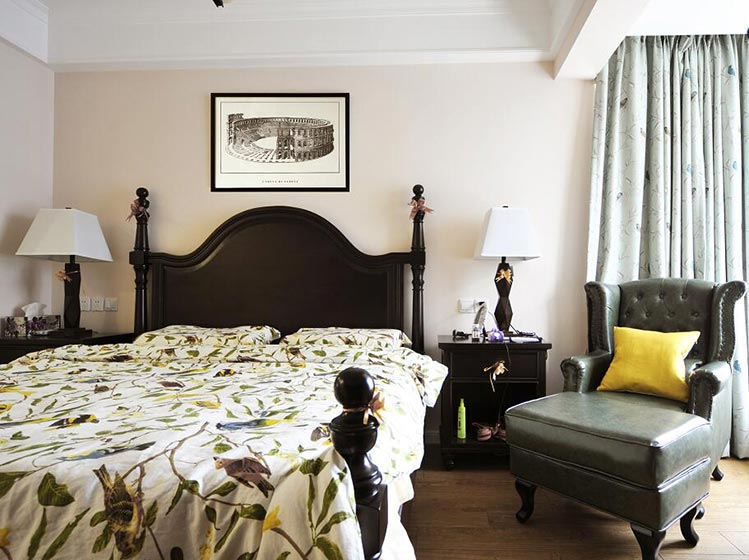 休闲乡村美式卧室实景图