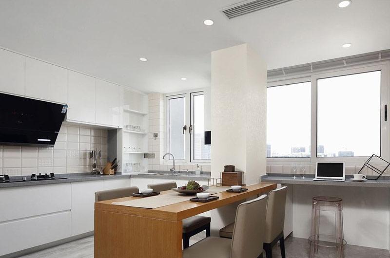 145平简约三居厨房餐厅一体装修