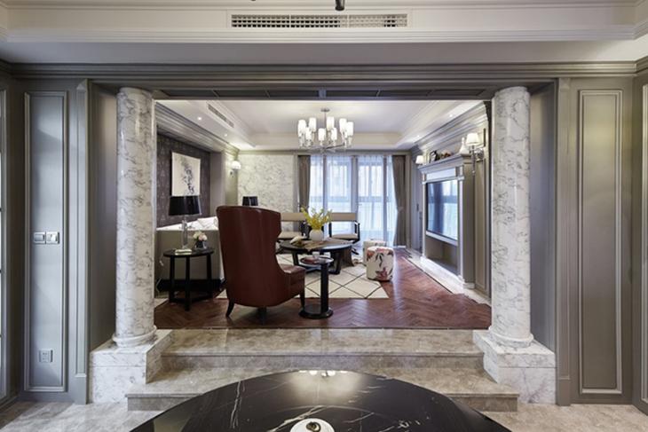 美式风格三室两厅装修过道效果图