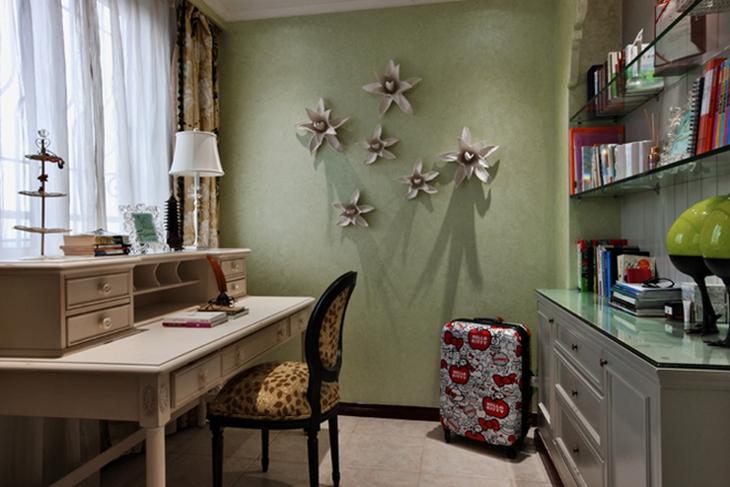 清新美式小书房 淡绿色背景墙设计
