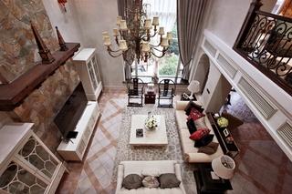 奢华古典美式 复式客厅俯瞰图