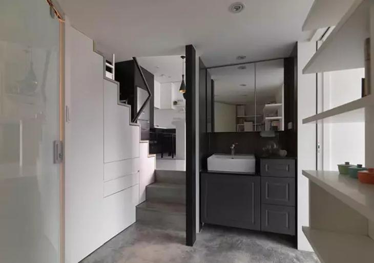 简约风loft公寓 楼梯间洗手台设计