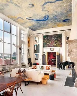 客厅手绘天花板装饰设计