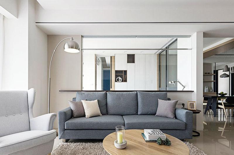 现代简约风格客厅 玻璃隔断效果图