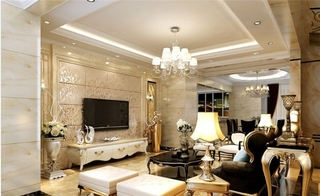 欧式风格大户型装修客厅电视背景墙