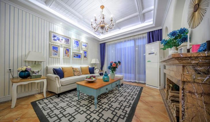 120平地中海风格三居沙发背景墙装饰画