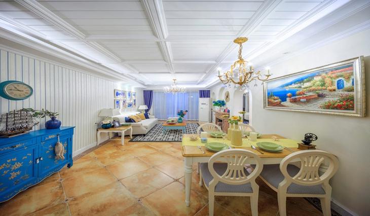 120平地中海风格三居餐厅装饰图