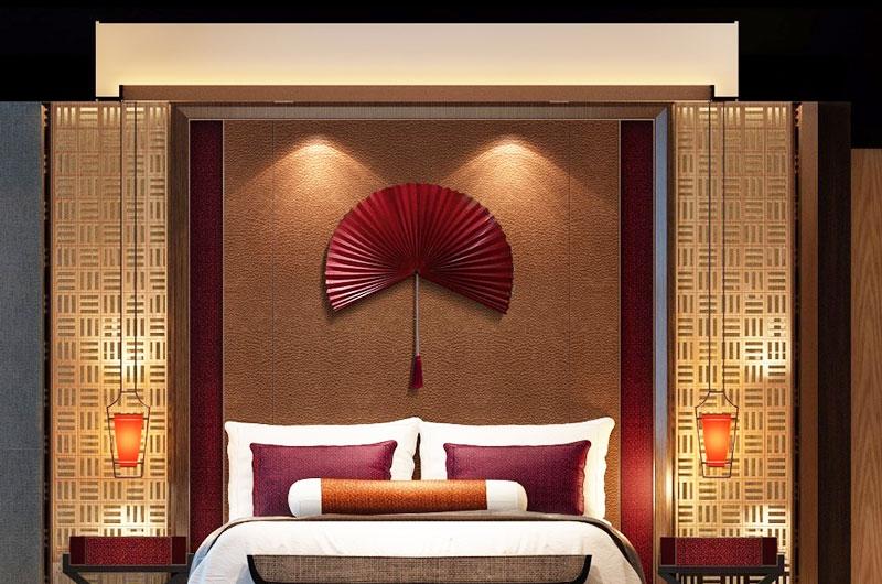 混搭风格样板房卧室背景墙设计图