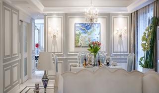 优雅奢华美式餐厅背景墙设计