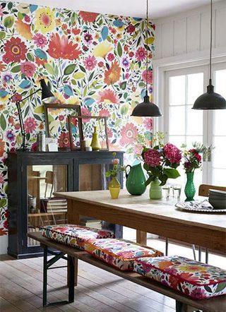 花样壁纸背景墙装修装饰效果图