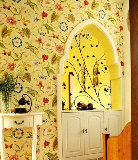 花样壁纸背景墙设计实景图