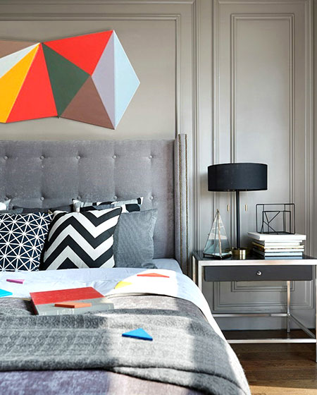 简约风格联排别墅卧室背景墙设计