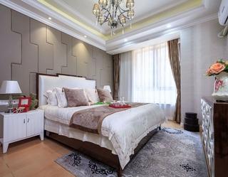 法式风格三居室卧室床头软包图片