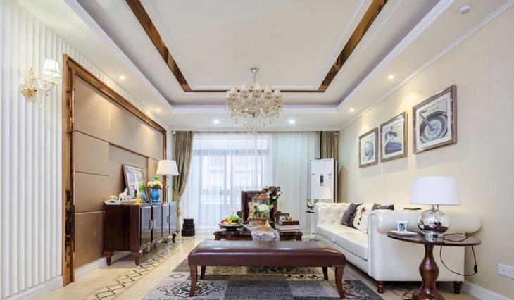 法式风格三居室装修客厅吊顶装修