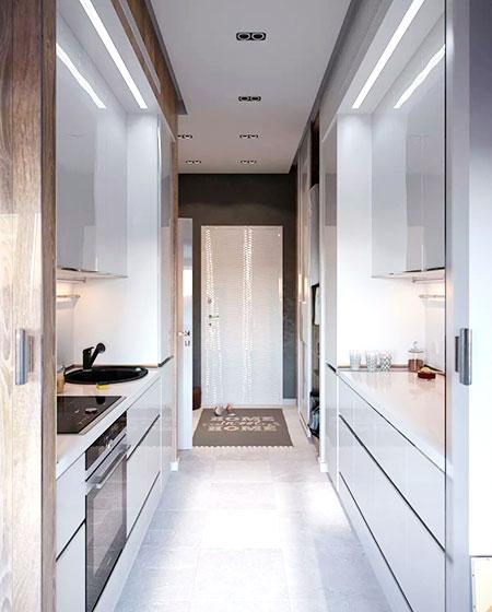 30平单身公寓开放式厨房装修图