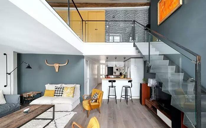装修效果图 家居美图 简约风格公寓经济型90平米厨房楼梯橱柜海外家居图片