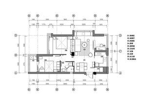 70㎡现代简约二居室平面图