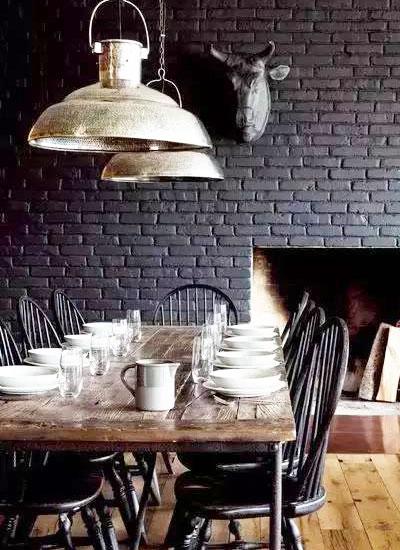 餐厅裸砖背景墙装修图片