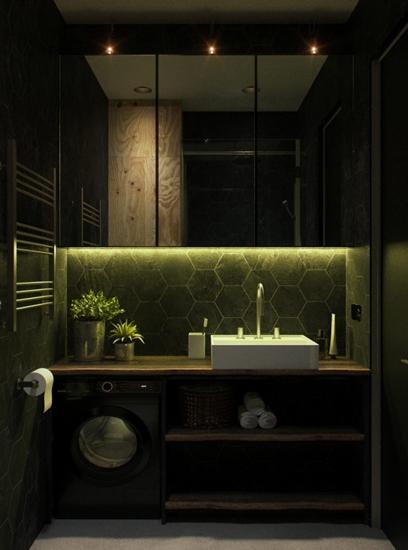 时尚摩登混搭风卫生间洗手台设计