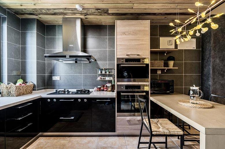 时尚现代混搭风 厨房带吧台效果图