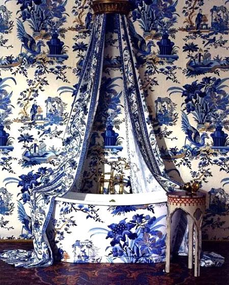 中式风格卫生间壁纸装修图