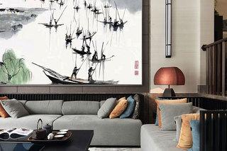中式风格别墅客厅沙发图片