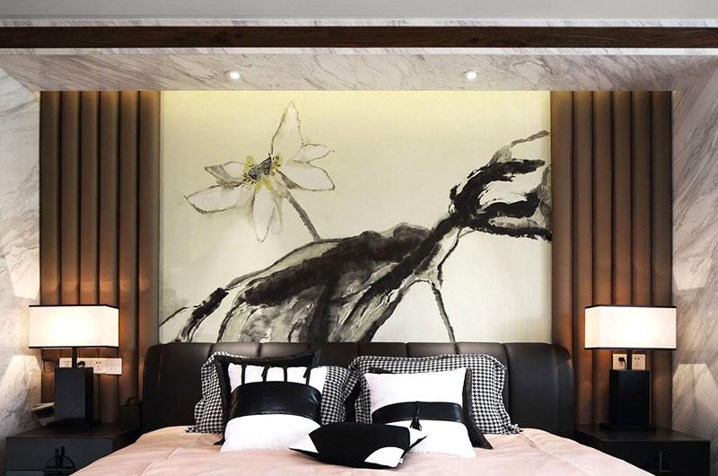 中式卧室水墨背景墙效果图