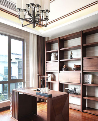 中式风格别墅书房效果图设计
