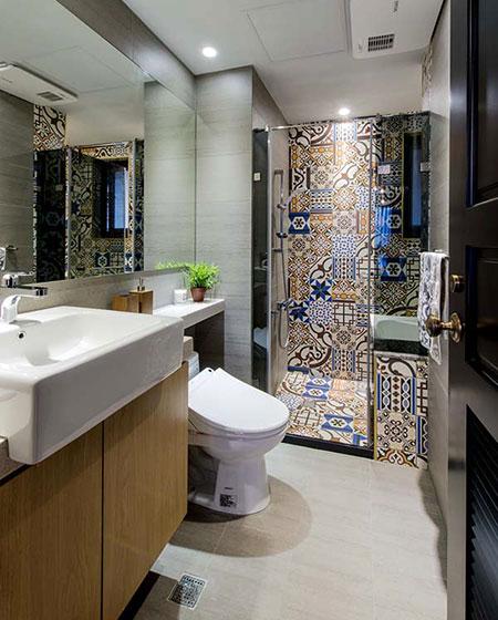 多彩混搭卫生间淋浴房效果图