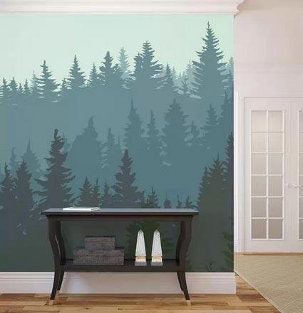 客厅手绘背景墙摆放图片