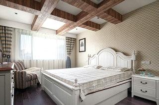 温馨乡村美式 卧室实木吊顶效果图