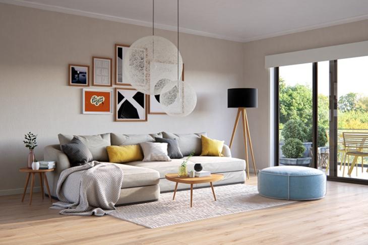 宁静北欧风客厅 沙发照片墙设计
