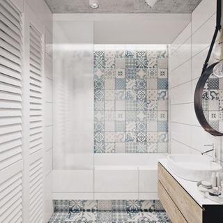 清新浪漫卫生间 拼花瓷砖设计图