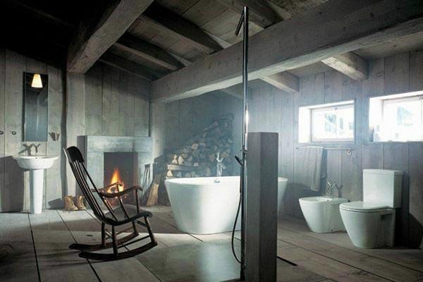 复古风浴室布置摆放图